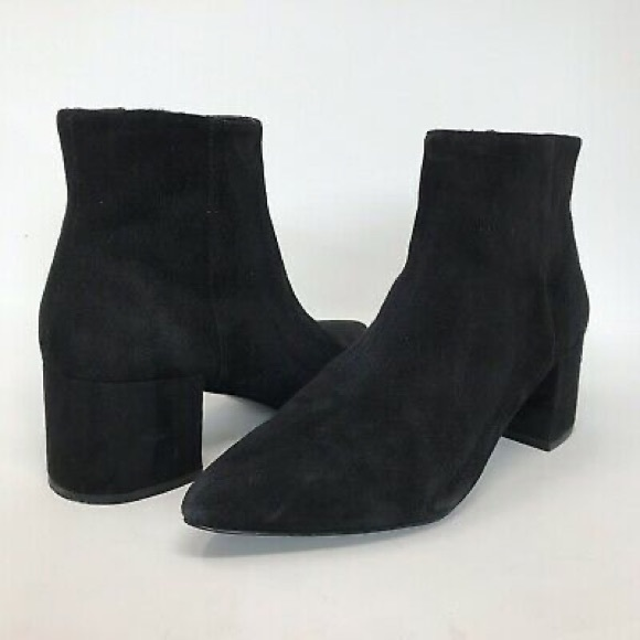 mid heel suede ankle boots